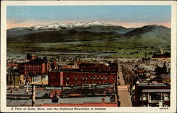 A View of Butte, Mont. and the Highland Mountains in the Summer