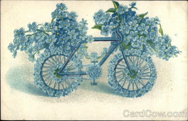 Bicycling Memories Figures Made of Flowers