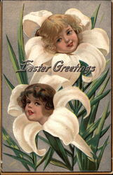 Easter Greetings (Two children in lilies)
