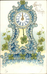 Hearty Greetings (Blue Floral Clock with Shamrocks)