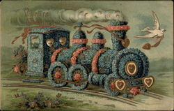 Blue Floral train with doves