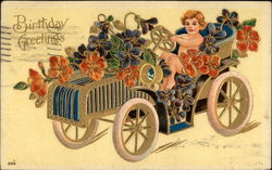 Cherub driving a car with flowers