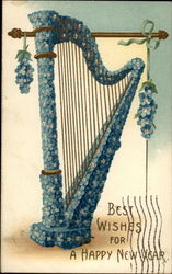 Best Wishes for a Happy New Year (blue floral harp)