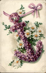 Purple and white floral anchor