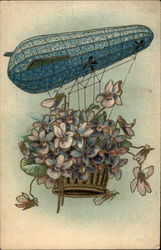 Flowers in a Basket Flying in a Hot Air Ballon