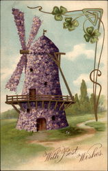 With Best Wishes (purple floral windmill)