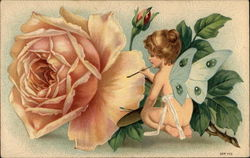 Nude Winged Cherub painting a rose