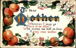 To dear Mother (with apple border)