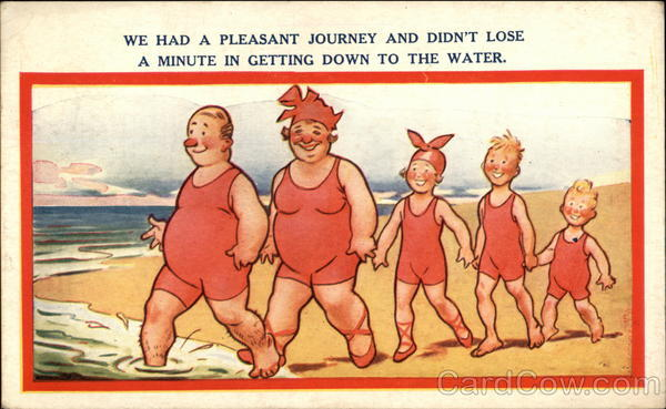 Family in Red Bathsuits Going for a Swim Comic, Funny