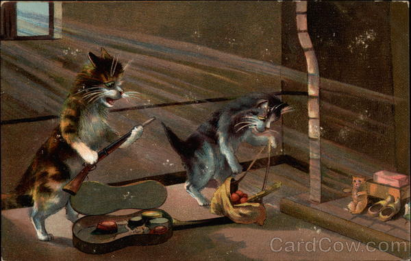 Cats with rifle and toys Maurice Boulanger