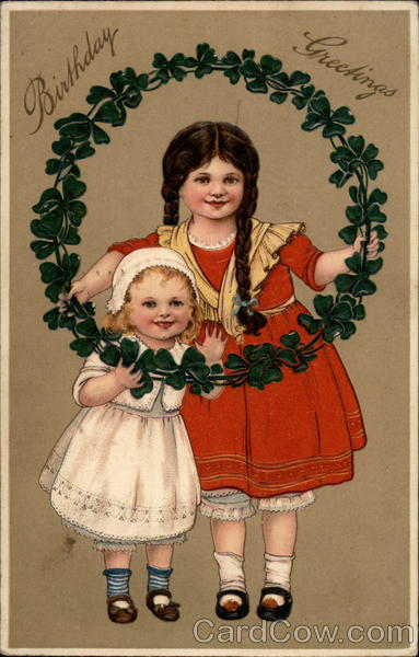 Birthday Greetings (Two Girls with a Clover Wreath)