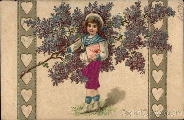 Little Girl with Branch and Flowers surrounded by Hearts