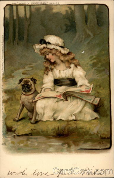 Girl Reading by a Riverbank with a Dog Girls