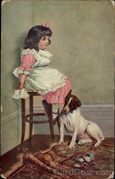 Little Girl Sitting in the Corner with Dog Girls