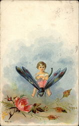 Little Child Riding a Dragonfly