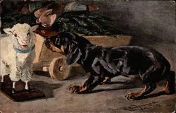 Daschund with a toy lamb and wooden cart