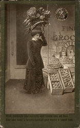Woman with giant hat shopping