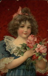 Little Girl with Pink Roses Postcard