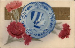 Plate with a Dutch Person and Pink Carnations