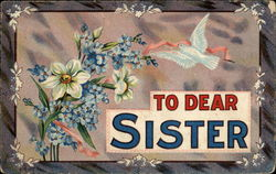 To Dear Sister with Blue Bird And Pink Ribbon