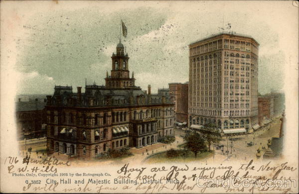 City Hall and Majectic Building, Detroit, Mich Michigan