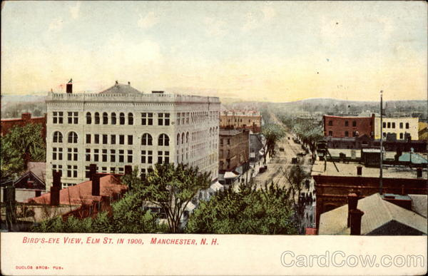 Bird's-Eye View, Elm St. in 1900 Manchester New Hampshire
