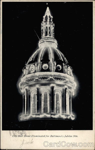 City hall Dome Illuminated for Baltimore's Jubilee 1906 Maryland