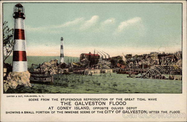 Scene from the Reproduction of The Galveston Flood at Coney Island New York