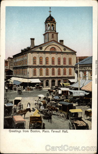 Greetings from Boston, Mass., Faneull Hall Massachusetts