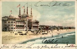 Bath House and Beach, Ocean Park, Cal Postcard