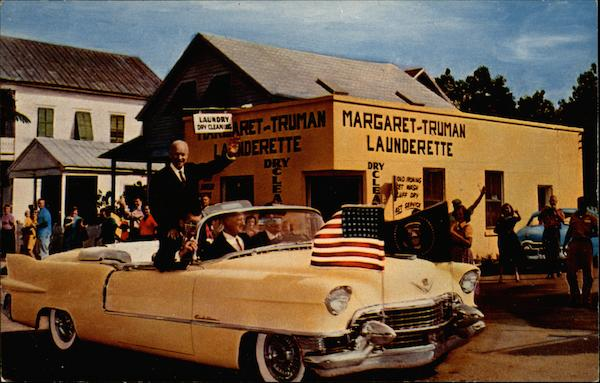 Dwight Eisenhower in Front of the Margaret Truman Launderette Key West Florida