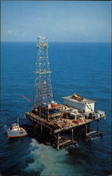 Gulf Oil Company fixed platform style oil drilling rig