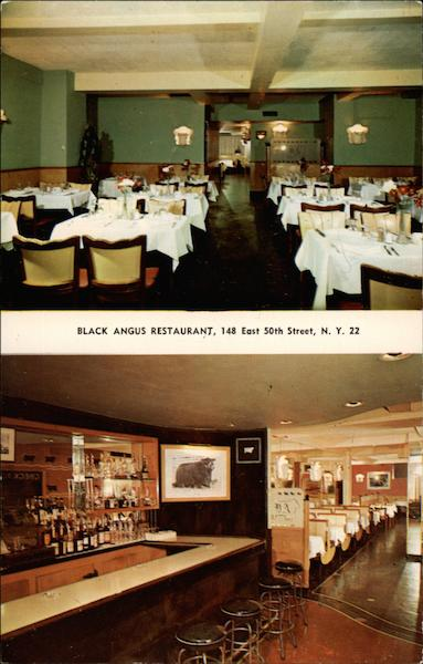 Black Angus Restaurant, 2 views, dining room and bar New York