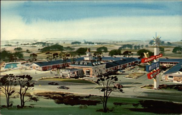Albert Pick Motel, architectural-style drawing, color Rockford Illinois
