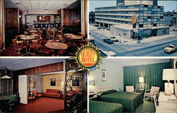 A Room, Restaurant and Lobby at Qualty Motel Postcard