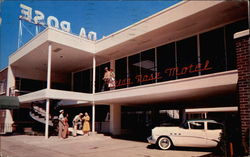 Velda Rose Motel, tourists, old Buick at lobby