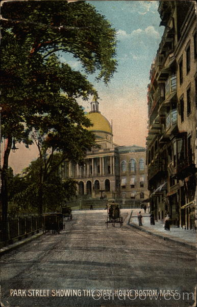 Park Street Showing the State House Boston Massachusetts
