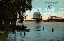 Mississippi River Scene and Railway Bridge