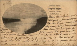 Up-River View of Evergreen Heights Postcard