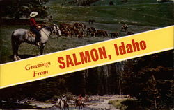 Greetings from Salmon, Idaho scenery and horses