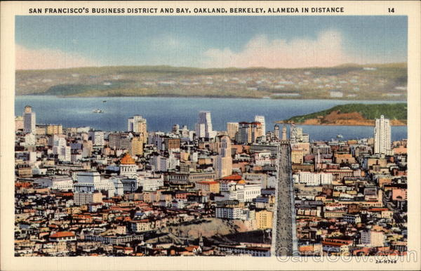 San Francisco's Business District and Bay, Oakland, Berkeley, Alameda in Distance California