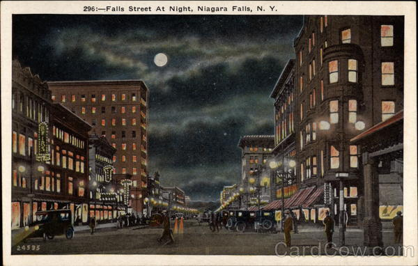 Falls Street at night Niagara Falls New York