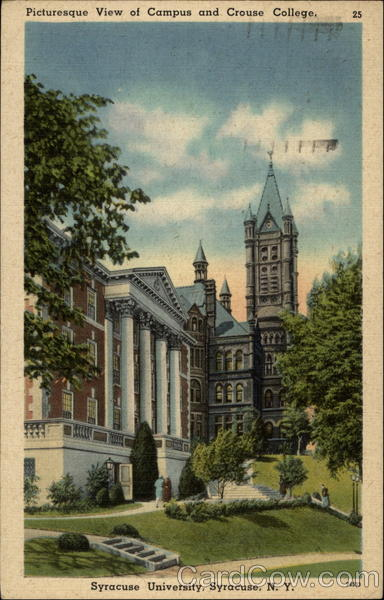 Picturesque View of Campus and Crouse College, Syracuse University New York