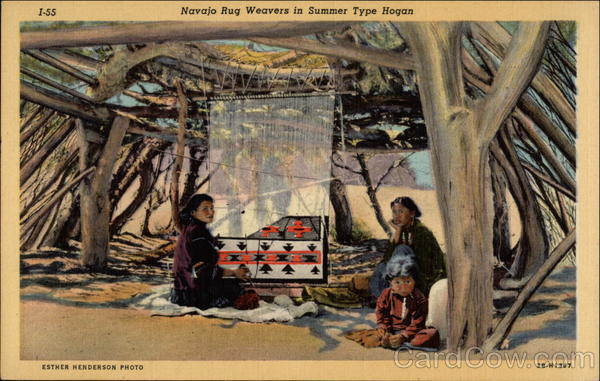 Navajo Rug Weavers in Summer Type Hogan Arizona Native Americana