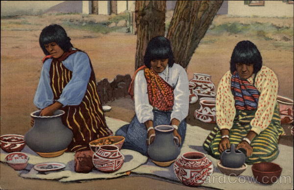 Pueblo Indian Women Making Pottery Native Americana