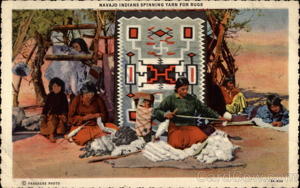 Navajo Indians Spinning Yarn for Rugs Native Americana