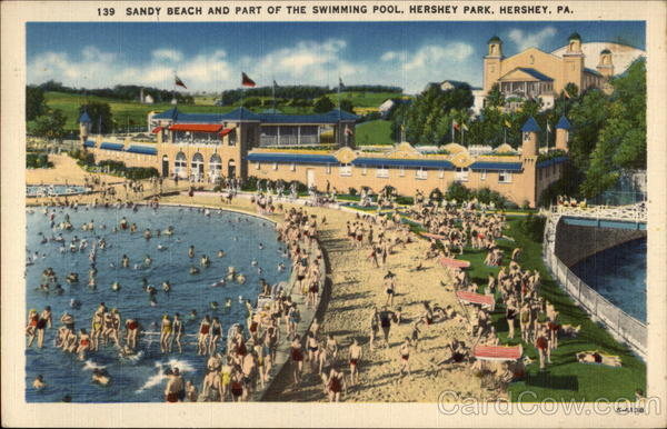 sandy beach and part of the swimming pool  hershey park