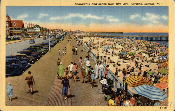 Boardwalk and Beach from 10th Ave. Pavilion, Belmar, N.J New Jersey