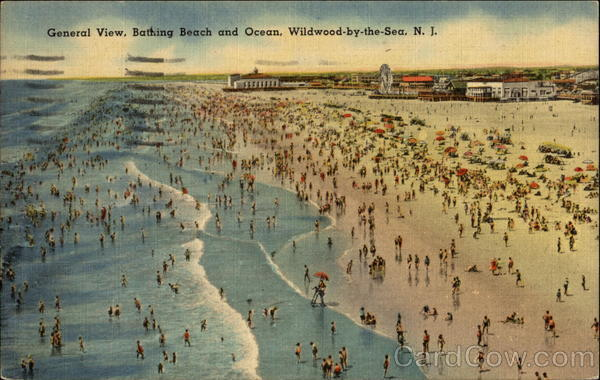 General View, Bathing Beach and Ocean Wildwood-by-the-Sea New Jersey