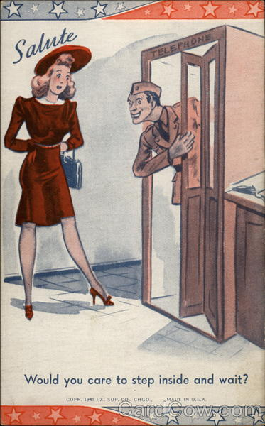 Wartime cartoon: Soldier in phone booth talking to woman